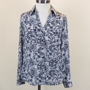 Express Paisley Portofino Slim Fit Long Sleeve Top